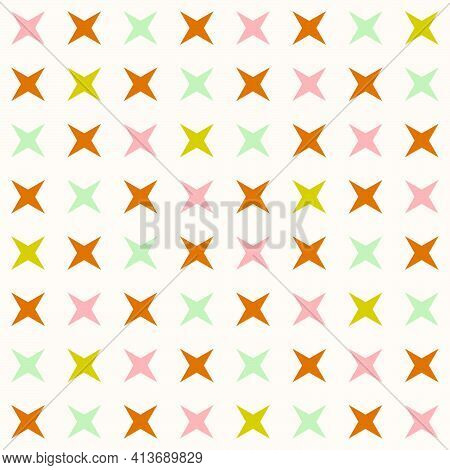 Cute Minimalist Star Shaped Retro Pattern In Pastel Colors. Vector Seamless Pattern Design For Texti