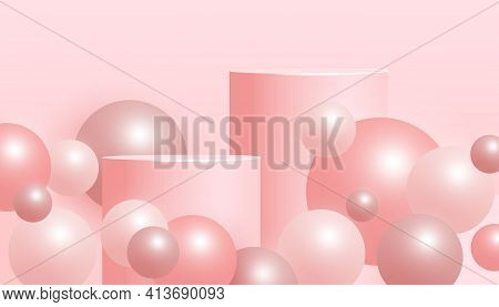 Minimal Abstract Mock Up Scene With Podium Or Platform, Flying Ball Geometric Shapes On A Pink Backg
