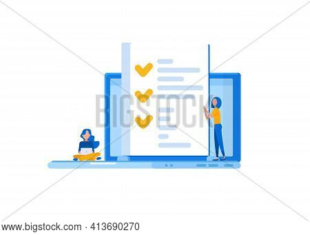 People Fill Out A Form, A Job Application Form, Online Exam, Questionnaire Form, Online Education, S