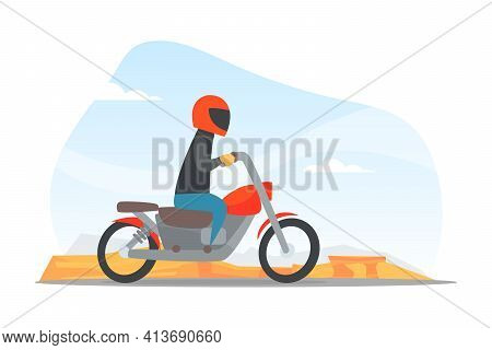 Man In Helmet Driving Motorcycle Along The City Road Vector Illustration