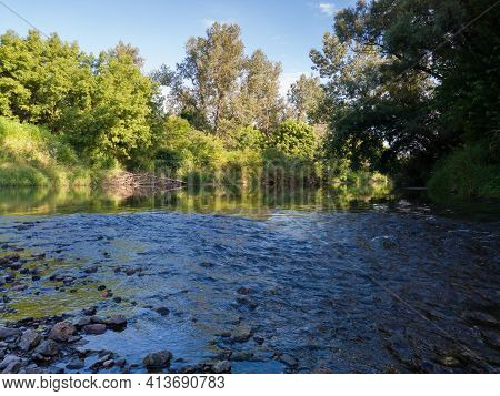 Landscape With River With Rapids And Flat Surface With Reflection, Banks Overgrown With Greenery, Ri