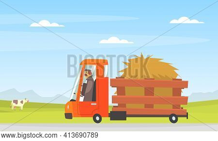 Man Driving Farming Truck With Hay Along The Countryside Road Vector Illustration