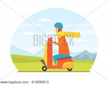 Man In Helmet Driving Scooter Along The City Road Vector Illustration
