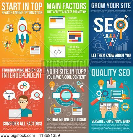 Web Poster Set With Seo And Website Development Symbols Isolated Vector Illustration