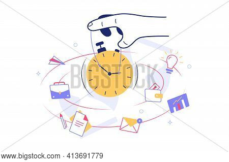 Person Holding Clock Dial Vector Illustration. Planning