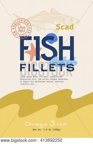 Fish Fillets Abstract Vector Packaging Design Or Label. Modern Typography, Hand Drawn Atlantic Scad