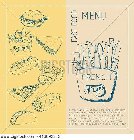 Sketch Image Of French Fries In The Style Of A Sketch On A Craft Background. Fast Food Menu - Hot Do