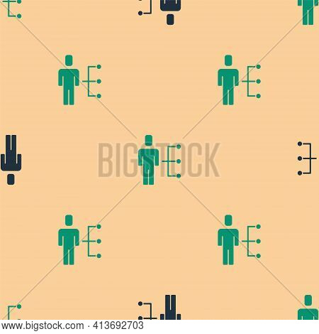 Green And Black User Of Man In Business Suit Icon Isolated Seamless Pattern On Beige Background. Bus