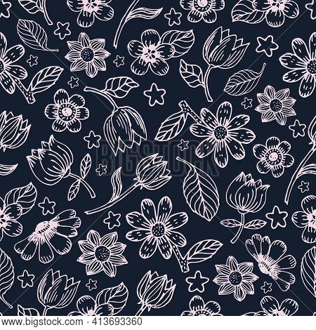 Flowers And Leaves Vector Seamless Pattern. Seamless Hand Draw Vector Pattern. Background With Decor