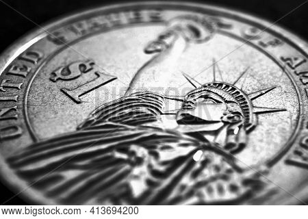 Us One Dollar Coin Close-up. Dark Dramatic Black And White Illustration About American Money, Econom