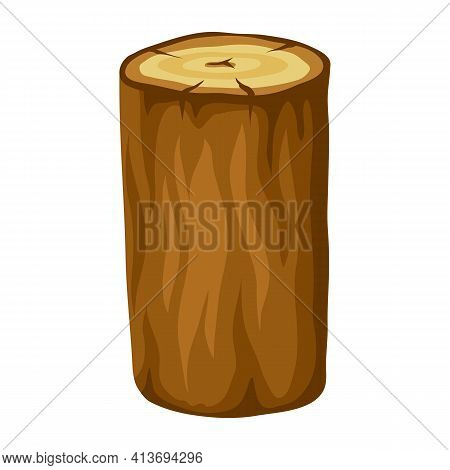 Illustration Of Tree Log. Adversting Image For Forestry And Lumber Industry.
