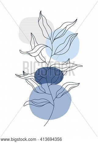 Abstract Vector Floral Background. Colorful Blue Grey Geometric Spots, Navy Blue Branch, Wavy Leaves