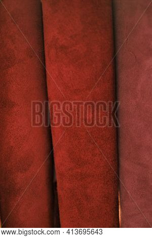Genuine Leather Texture.red Leather And Suede In Rolls. Leatherworking. Genuine Leather Red Backgrou