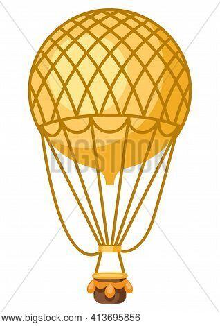 Illustration Of Vintage Hot Air Balloon. Retro Vehicle Image.