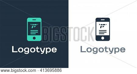 Logotype Hunting Shop With Rifle And Gun Weapon In Mobile App Icon Isolated On White Background. Sup