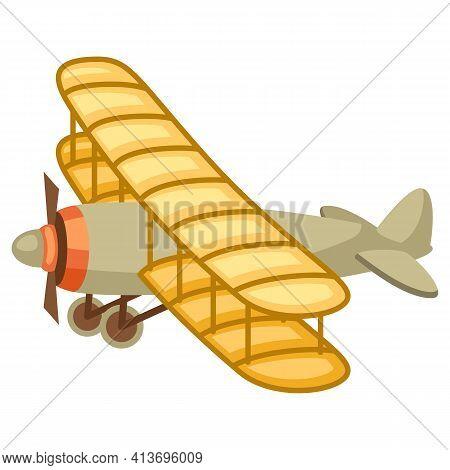 Illustration Of Vintage Airplane. Retro Vehicle Image.