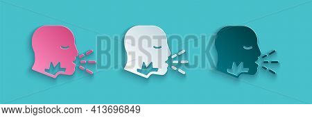 Paper Cut Man Coughing Icon Isolated On Blue Background. Viral Infection, Influenza, Flu, Cold Sympt