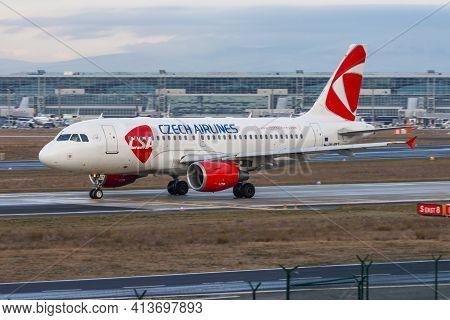Frankfurt, Germany - December 7, 2012: Csa Czech Airlines Airbus A319 Ok-pet Passenger Plane Taxiing