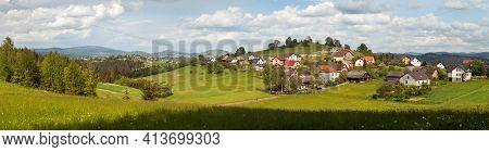 Jaworzynka Village, Panoramic View From Poland Beskid Slaski Mountains, Carpathian Mountains, Slovak