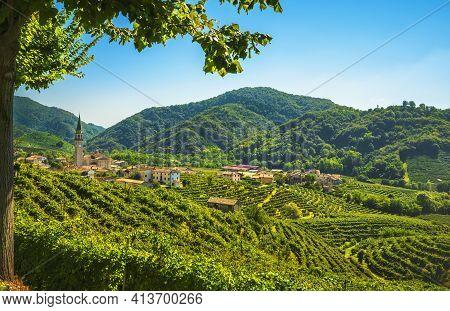 Prosecco Hills, Vineyards And Guia Village. Unesco Site. Valdobbiadene, Treviso, Veneto, Italy, Euro
