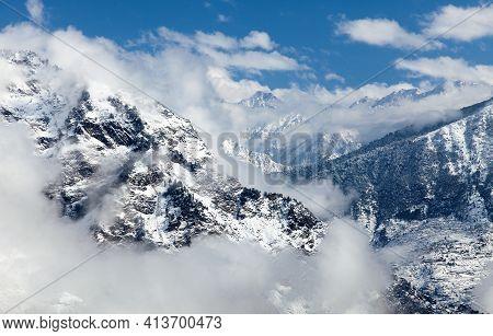 Winter View Of Indian Himalaya Near Joshimat Town, Uttarakhand, India Himalayas Mountains