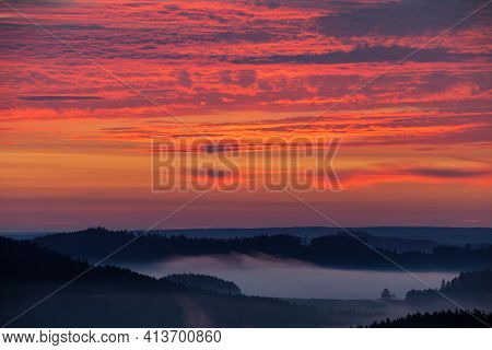 Morning Evening Panoramic Sunset View Of Beautiful Sky From Bohemian And Moravian Highland Near Kras