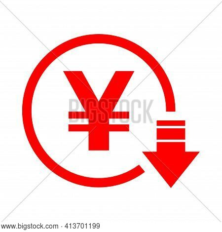 Yen Reduction Symbol, Cost Decrease Icon. Reduce Debt Bussiness Sign Vector Illustration