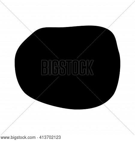 Abstract Ink Blotch, Round Liquid Blot Inkblot Shape. Freskle Pebble. Deform Random Smooth Vector Il