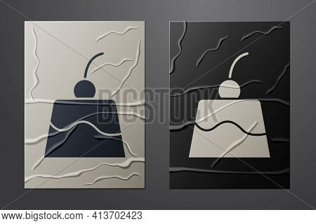 White Pudding Custard With Caramel Glaze Icon Isolated On Crumpled Paper Background. Paper Art Style