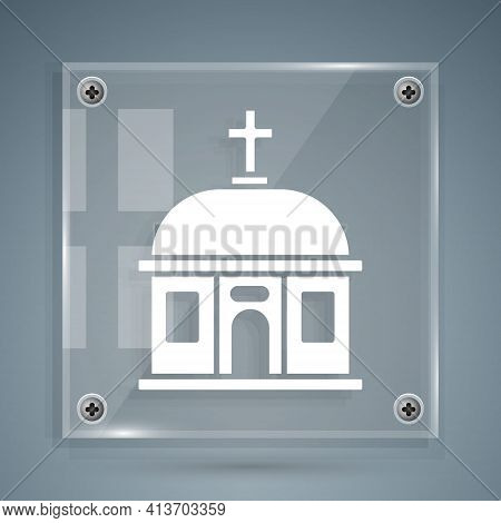 White Santorini Building Icon Isolated On Grey Background. Traditional Greek White Houses With Blue