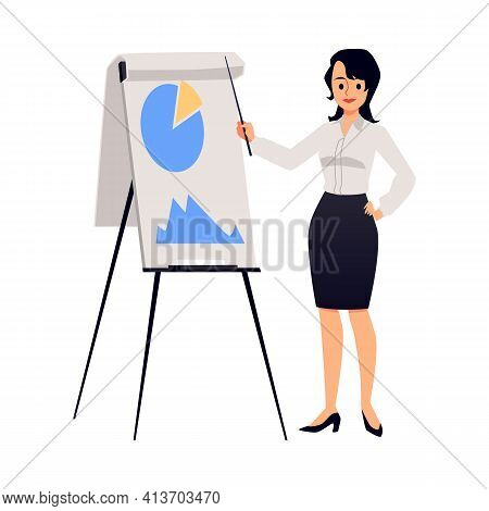 Woman Company Executive Makes A Presentation, Flat Vector Illustration Isolated.