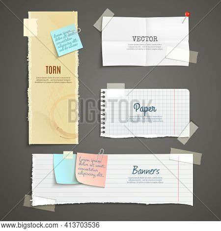 Torn Paper Lined Plaid White Yellow Clear And Folded Vertical And Horizontal Banner Set Isolated Vec