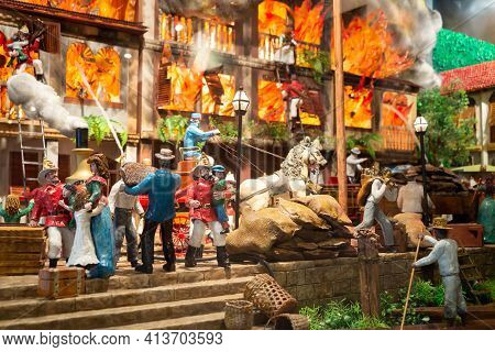 Guayaquil, Guayas Province, Ecuador - November, 2013: Scale Model Of A Fire Re-enactment At The Fire