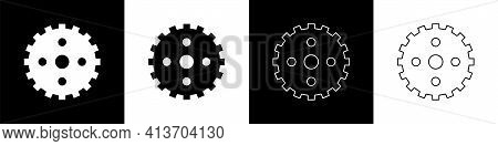 Set Bicycle Sprocket Crank Icon Isolated On Black And White Background. Vector