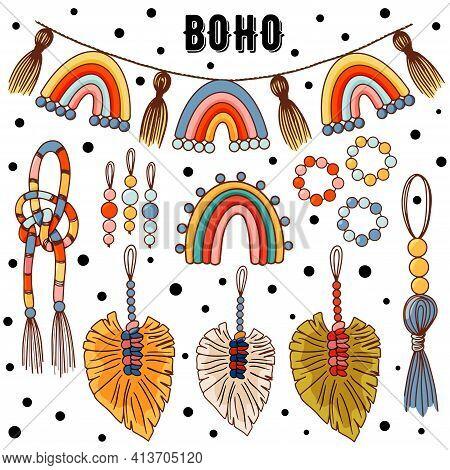 Set Of Modern Boho Style. Vector Hand Drawn Boho Clipart For Nursery Decoration With Cute Rainbows.