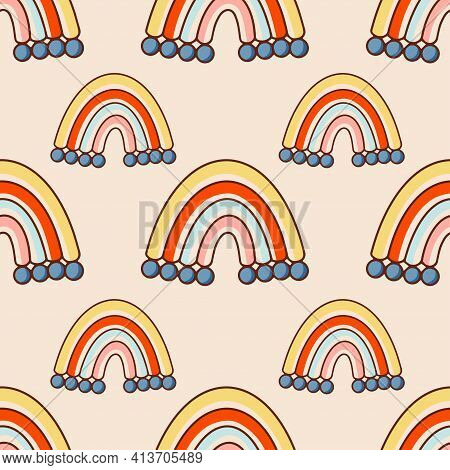 Bohemian, Modern Boho Chic Seamless Pattern With Hand Drawn Abstract Rainbows In Scandinavian Style.
