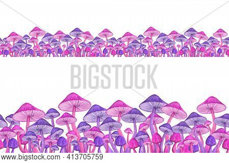 Bright Toadstool Watercolor Seamless Border. Funny Mushroom Illustration For Hippie Trippy Concept.