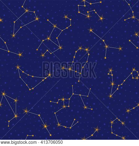 Star Constellation Seamless Pattern. Dark Blue Space Vector Background With Golden Stars. All Twelve