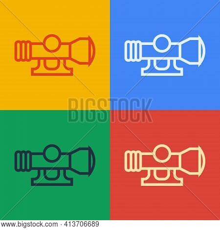 Pop Art Line Sniper Optical Sight Icon Isolated On Color Background. Sniper Scope Crosshairs. Vector