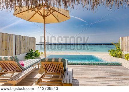 Overwater Villa Terrace Balcony Overlooking Tropical Lagoon, Sea Horizon. Luxury Summer Vacation, Be