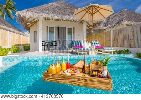 Beach Villa With Infinity Pool And Floating Breakfast In Paradise Island, Luxury Lifestyle, Leisure