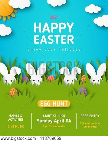 Easter Egg Hunt Announcing Poster With White Paper Cut Bunny Rabbits In Spring Lawn Grass, Hidden Co
