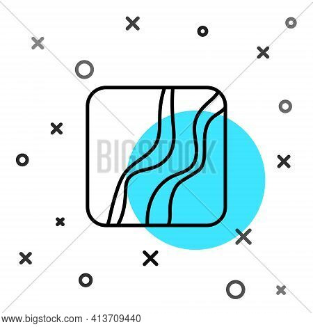 Black Line Snake Paw Footprint Icon Isolated On White Background. Random Dynamic Shapes. Vector