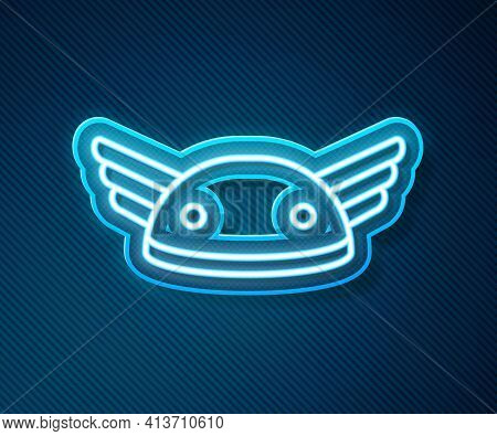 Glowing Neon Line Helmet With Wings Icon Isolated On Blue Background. Greek God Hermes. Vector