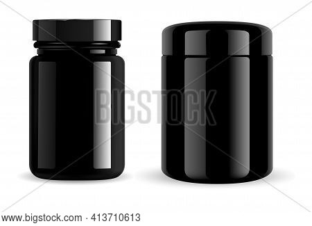 Black Jar. Black Pill Bottle, Cosmetic Container, Glass Package. Vitamin Pill Jar Mockup, Gloss Glas