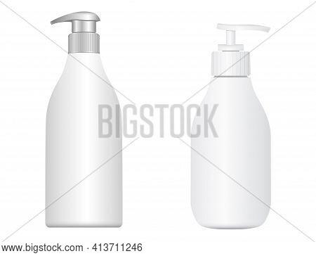 Pump Bottle. Cosmetic Shampoo Dispenser. Moisturizer Lotion 3d Vector Package. Pump Dispenser Bottle