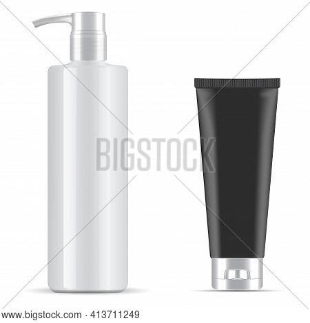 Pump Bottle. Black Tube. Cosmetic Packaging Dispenser. Black Cosmetic Tube Blank. Moisturizer Cream