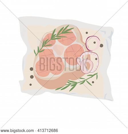 Meal Kits Vector Stock Illustration. Delivery Of A Set Of Packaged Products For Dinner. Pickled Meat