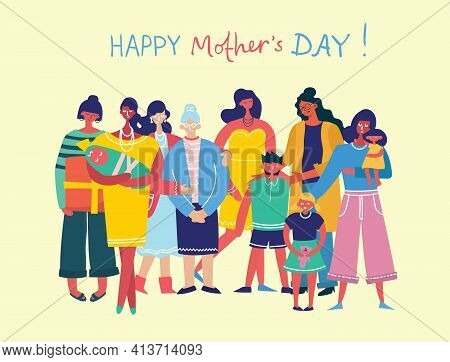 Colorful Vector Illustration Concepts Of Happy Mother's Day . Mothers With The Children In The Flat
