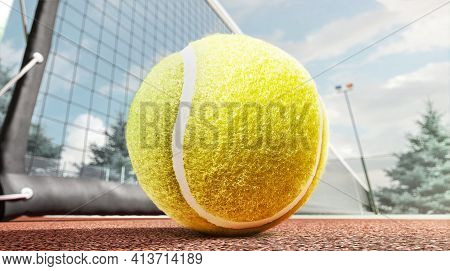 Tennis Ball Close-up On The Tennis Court. Bottom View. 3d Rendering. On Open Air